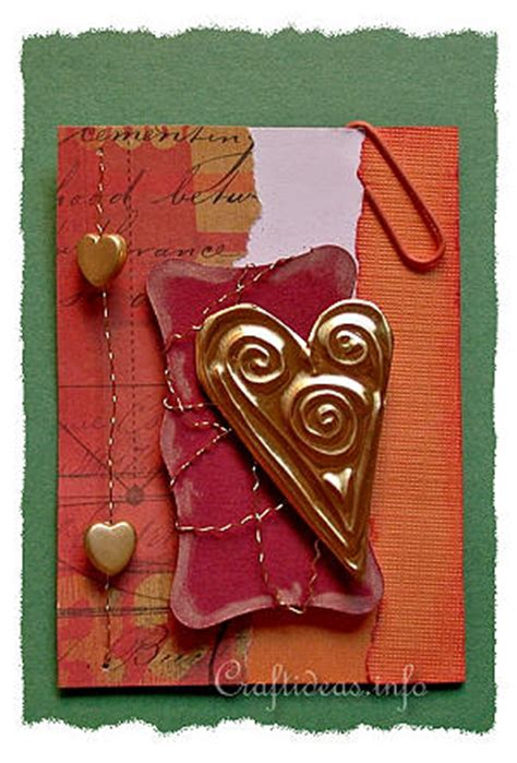 artist trading cards crafts gold heart atc