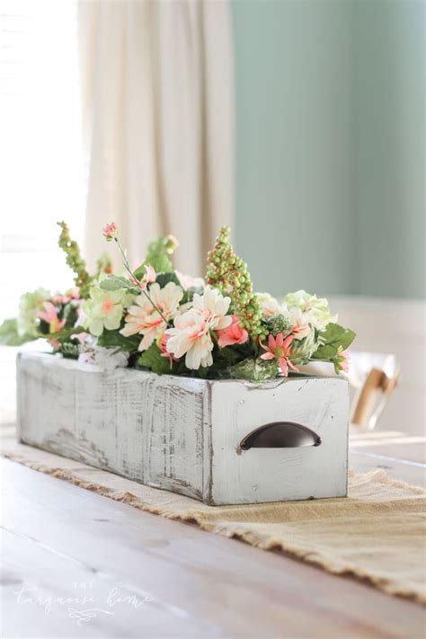 diy farmhouse wooden box centerpiece  turquoise home