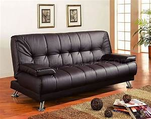brown vinyl modern futon sofa bed w removable arm rests With vinyl sofa bed