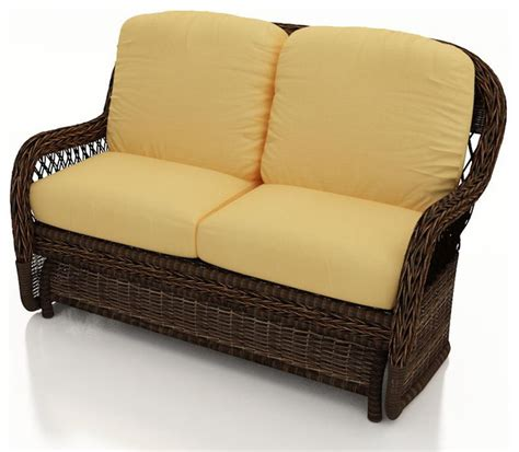leona wicker patio glider canvas wheat cushions traditional outdoor gliders by