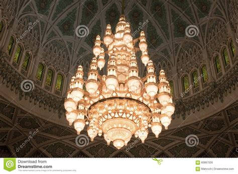 chandelier of the sultan qaboos grand mosque oman stock