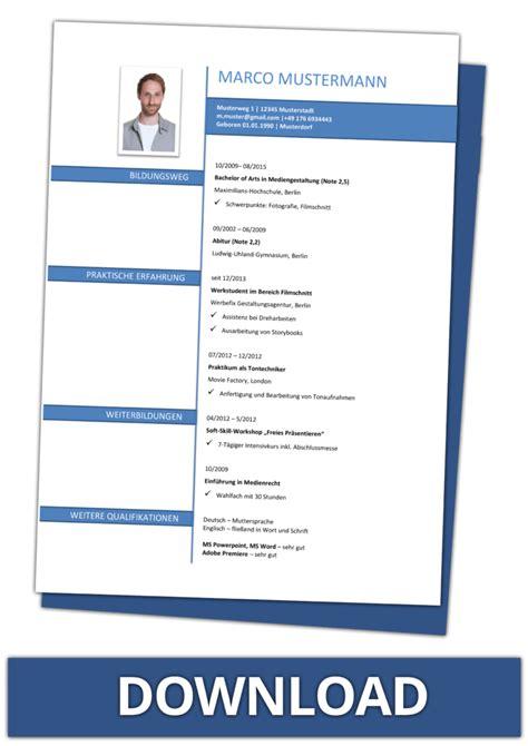 Lebenslauf Muster Gratis by Lebenslauf Vorlagen Kostenlos Downloaden Als Word Dateien