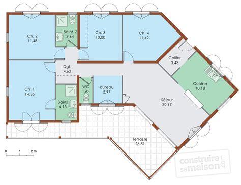 plan de maison à étage 4 chambres cuisine maison de plain pied dã du plan de maison de