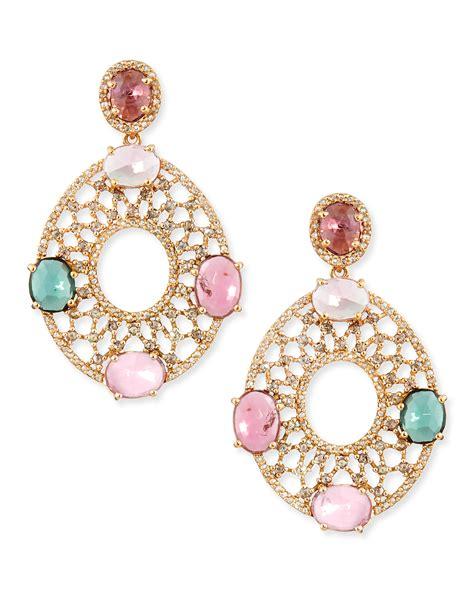 bavna  yellow gold oval earrings  diamonds