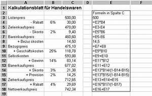 Listenpreis Berechnen Formel : kalkulation l sung ~ Themetempest.com Abrechnung