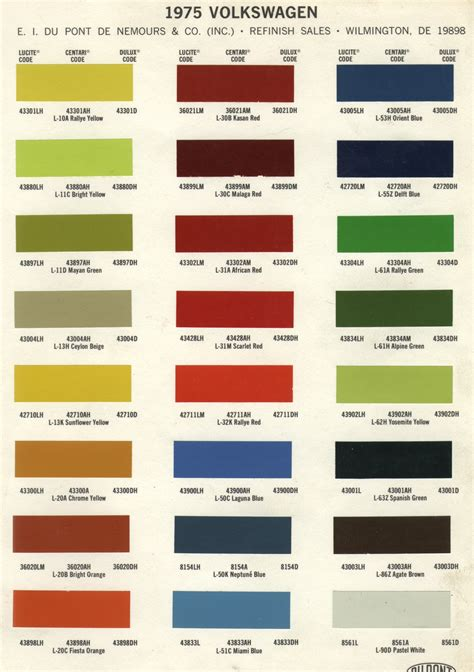 paint codes 1975 volkswagen colors captures enticing for