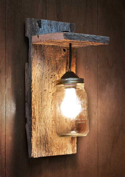 mason jar light wall fixture barnwood wall by