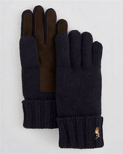 Ralph lauren Polo Signature Merino Wool Gloves With Suede ...