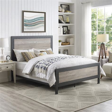 walker edison furniture company queen size grey wash