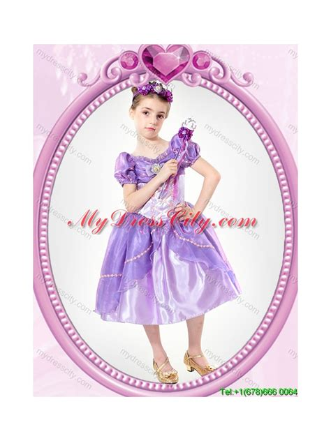 puffy  neck beaded lavender halloween  girl pageant
