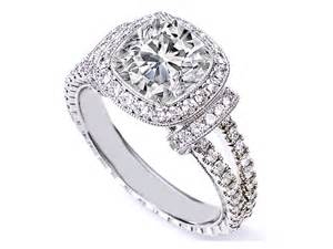 cushion engagement ring engagement ring cushion cut halo engagement ring pave band in 14k white gold es1174
