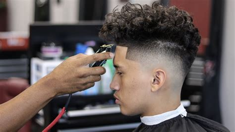 HAIRCUT TUTORIAL: DROP FADE   CURLY TOP   YouTube