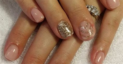 nude pink gel nails  gold glitter nails byme