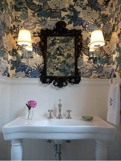 Powder Bold Eclectic Rooms Bathroom Downstairs Wall