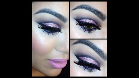 purple glitter cut crease makeup tutorial youtube