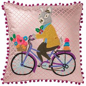 Rabbit On Bike Embroidered Cotton Cushion Cover  U0026gt  Cushions