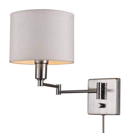 bernard 1 light plug in or hardwire wall sconce brushed steel finish white fabric shade 6ft