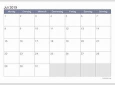 Kalender Juli 2019 zum Ausdrucken iKalenderorg