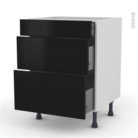 meuble cuisine noir meuble de cuisine casserolier ginko noir 3 tiroirs l60 x