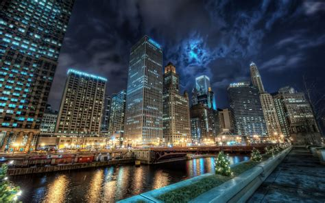 water reflection night lights channel chicago chicago city