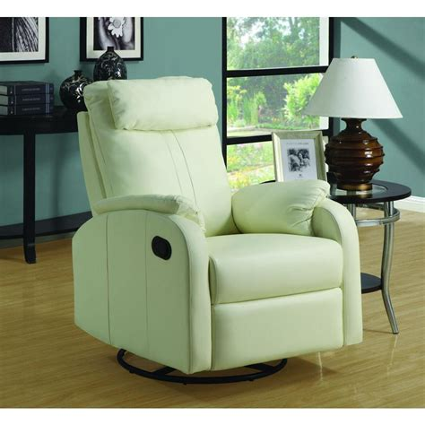 Leather Swivel Recliners by Monarch Specialties Ivory Bonded Leather Swivel Recliner