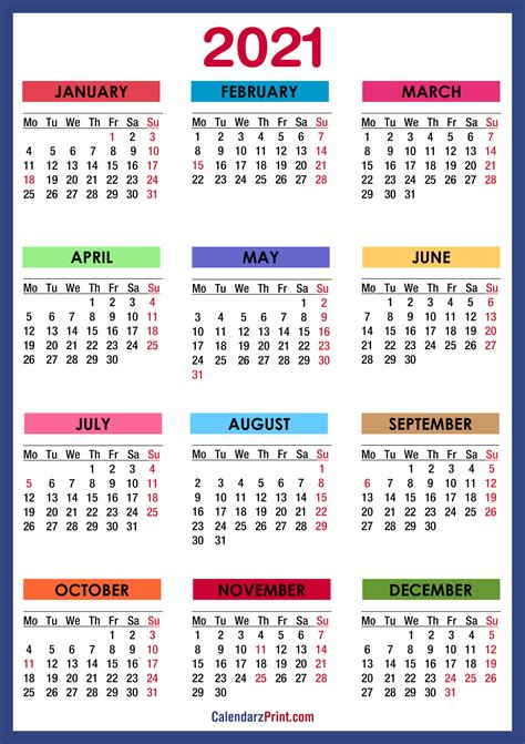 This page contains a national calendar of all 2021 public holidays. 2021 Calendar Printable With Holidays Usa | Free 2021 ...