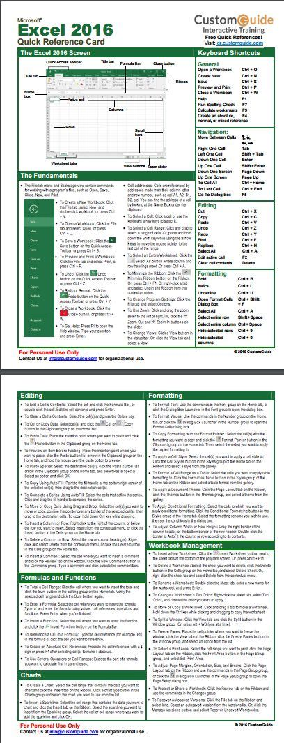 excel  quick reference card httpwwwcustomguide