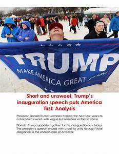 Short and unsweet, trump's inauguration speech