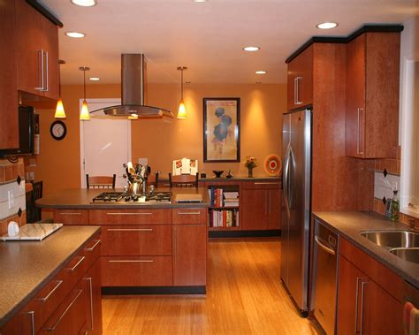 Cozy And Natural Bamboo Floor In Kitchen Designs. Kitchen