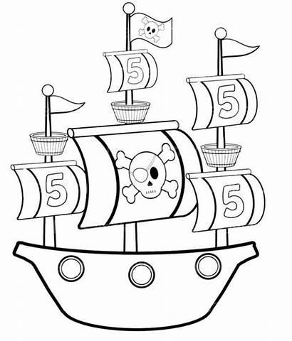 Pirate Ship Coloring Simple Ships Printable Preschool