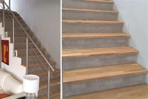 exemple d habillage d escalier en b 233 ton avec marches en bois massif