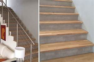 Marche D Escalier En Chene : exemple d 39 habillage d 39 escalier en b ton avec marches en bois massif ~ Melissatoandfro.com Idées de Décoration