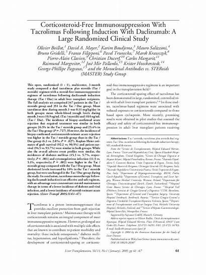 Immunosuppression Tacrolimus Induction Corticosteroid Daclizumab Randomized Clinical