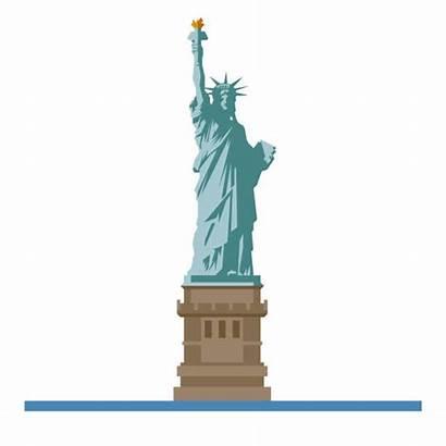Liberty Statue Vector Clip York Icon Illustrations