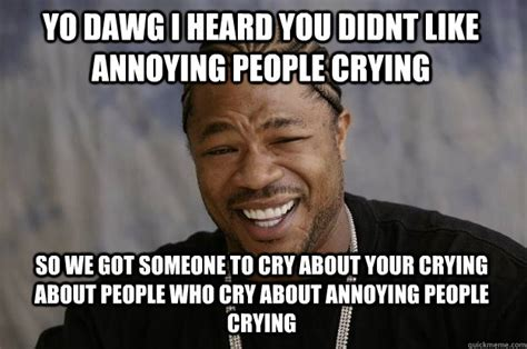 Annoying Meme - yo dawg i heard you didnt like annoying people crying so we got someone to cry about your crying