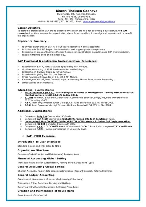 Module Resume by Sap Fico Resume
