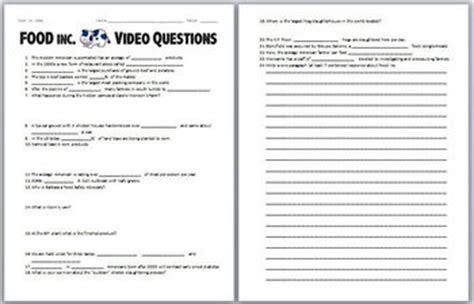 Food Inc Video Worksheet By Biology Zoology Forensic Science Tpt