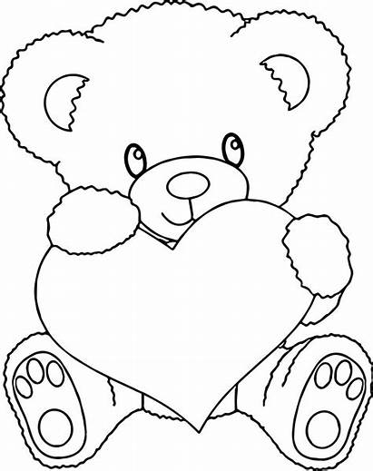 Teddy Coloring Bear Heart Pages Holding Colouring