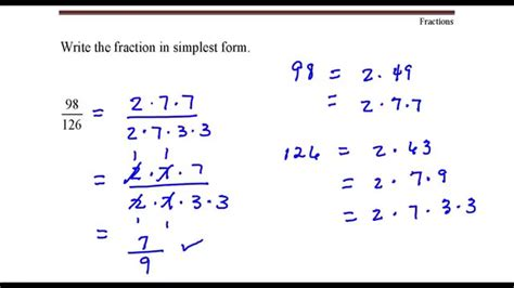 write the fraction in simplest form 98 divided by 126 youtube youtube