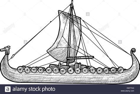 Viking Boat Drawing by Viking Ship Illustration Drawing Engraving Ink Line