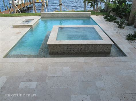Ivory Tumbled Travertine Pool Deck Tiles And Pavers
