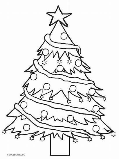 Coloring Tree Christmas Pages Printable Trees Sheets