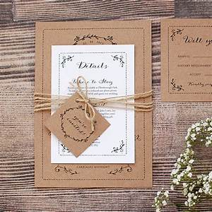 Rustic kraft wedding invitation with leaf border for Rustic style wedding invitations uk