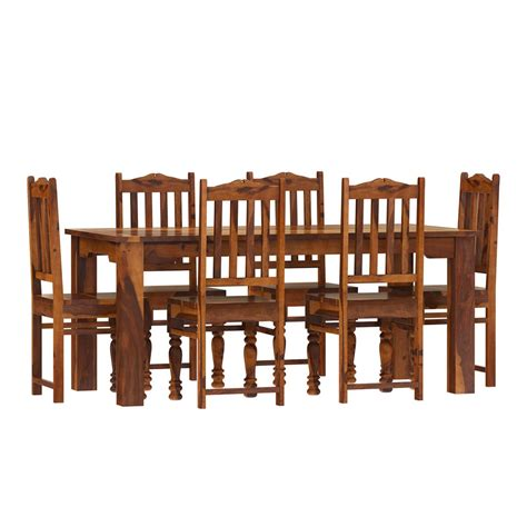 rustic solid wood dallas dining table  chairs set