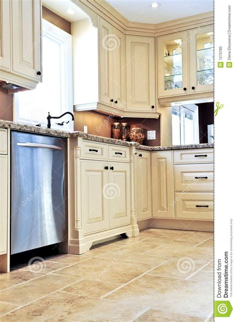 modern kitchen with tile floor royalty free stock photo