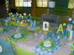 Decoration bapteme pois blanc anis turquoise la deco for Salle de bain design avec décoration gateau anniversaire fee clochette