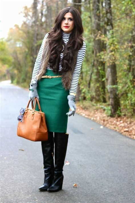 Striped top green pencil skirt gold glitter belt otk boots outfit | My Fashion | Pinterest ...