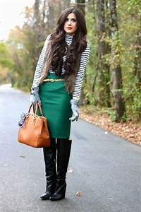 Striped top green pencil skirt gold glitter belt otk boots outfit | Fashion | Pinterest ...