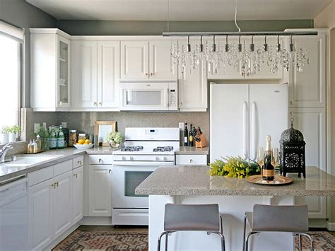 grey kitchen walls with white cabinets linear strand chandelier transitional kitchen 8364