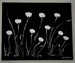 Peinture En Noir Et Blanc : tableau moderne abstrait contemporain tableau noir blanc fleurs format 45 x 38 cm tableaux ~ Melissatoandfro.com Idées de Décoration